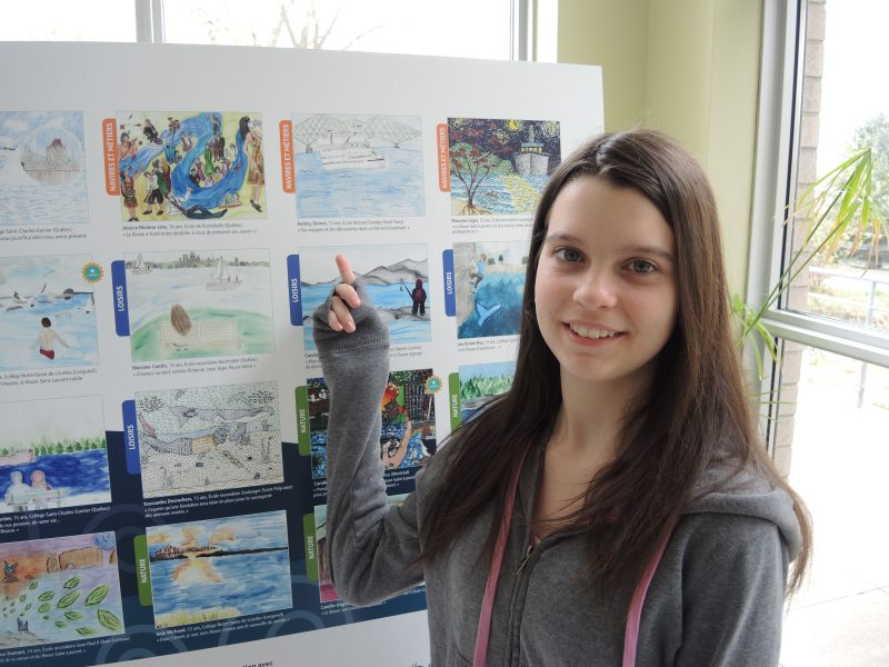 Le dessin « Des voyages et la découverte dans un bel environnement » d'Audrey Doiron, élève à l'école secondaire Bernard-Gariépy, s'est distingué au concours Mon fleuve et moi. | TC Média - Sarah-Eve Charland