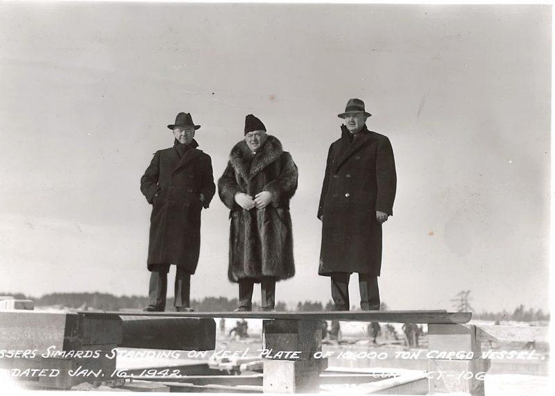 Les frères Simard en 1942 : Ludger, Joseph et Édouard. | Photo: Société historique Pierre-de-Saurel, Fonds Alphérie Émond