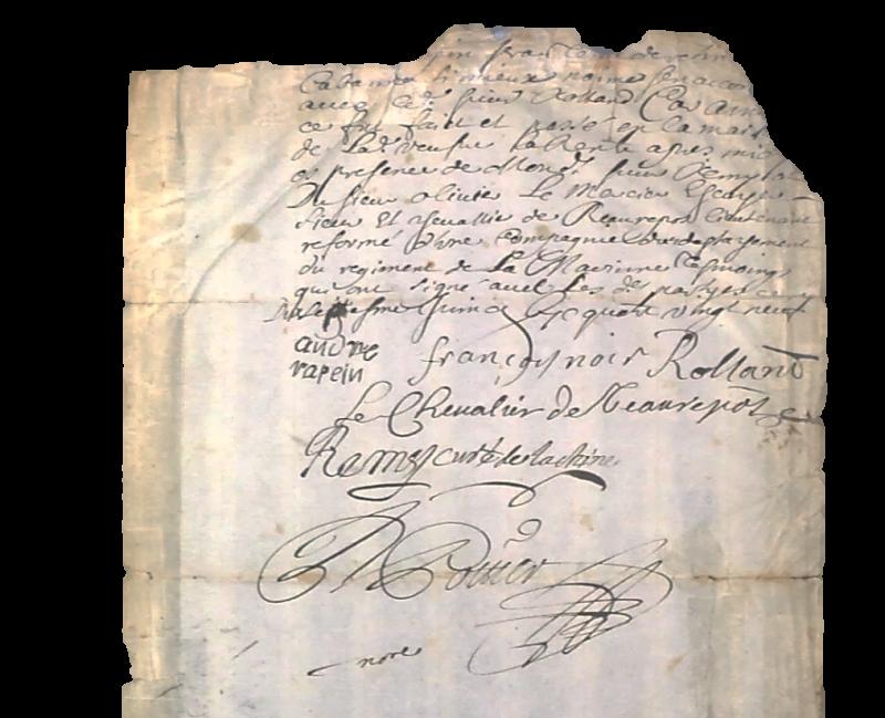 Manuscrit de quatre pages provenant de la Collection de Léry Macdonald, puis de la Collection Lawrence M. Lande, et finalement acquis par Denis St-Martin   Photo: Germain Martin