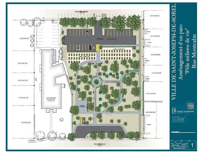 Cette première esquisse du parc, proposée par l'architecte Daniel Cournoyer n'est pas finale, le conseil ayant demandé que l'on n'y intègre pas de stationnement sur la rue Saint-Pierre, comme illustré. | Photo: - Gracieuseté