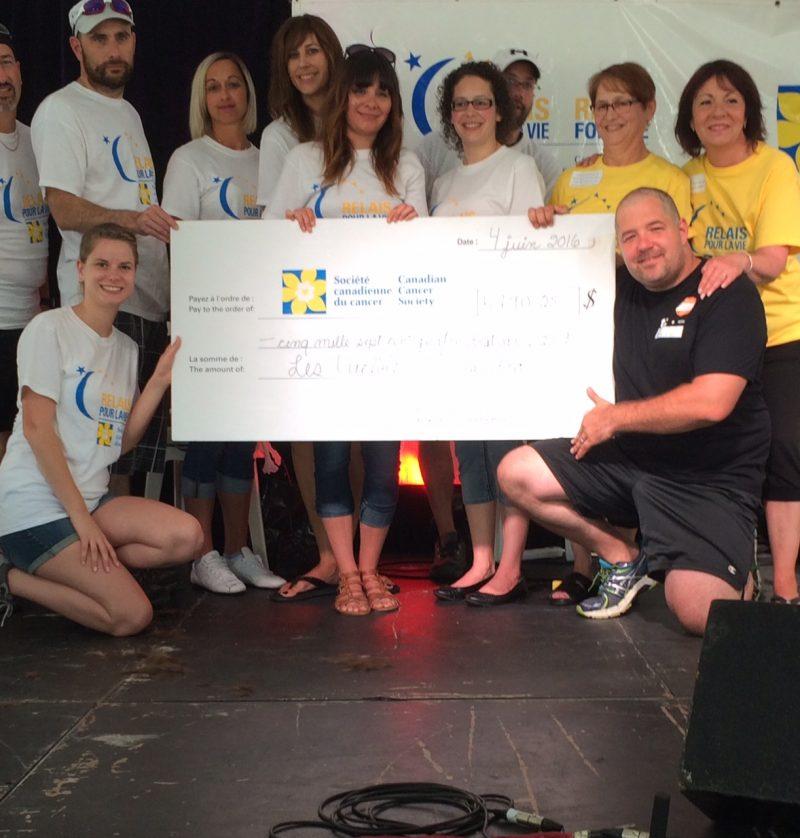 L'équipe des journaux Les 2 Rives et La Voix a recueilli près de 5800$ pour le Relais pour la vie de Sorel-Tracy. Au total, plus de 132 000$ en dons ont été recuillis lors de l'événement. | TC Media - Julie Lambert