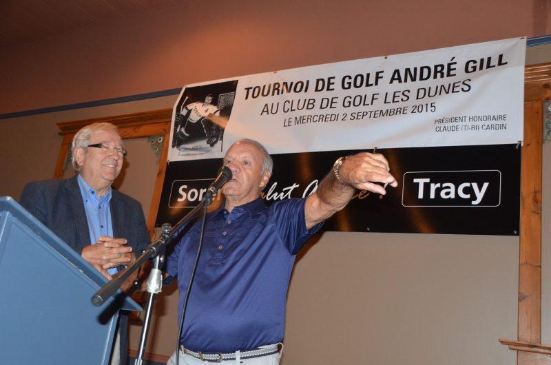 Louis Plamondon et Benoît Leblanc ont présenté les détails du tournoi de golf en hommage à André Gill qui aura lieu le 2 septembre prochain. | TC Média – Jean-Philippe Morin