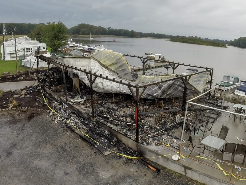 La marina de Saint-François-du-Lac a été complètement rasée par les flammes le 28 septembre dernier. | TC Média - Pascal Cournoyer