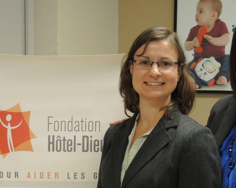 Martine Dulude lors de la conférence de presse annonçant la campagne de financement de la Fondation Hôtel-Dieu. | TC Média – Sarah-Eve Charland