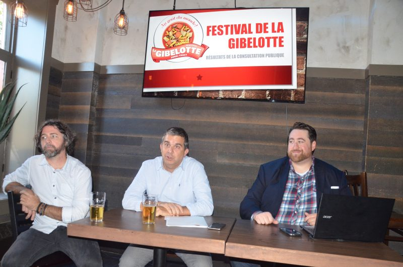 Le vice-président Mario Fortin, le président Benoît Lefebvre et l'administrateur Nicolas Tabah ont présenté les résultats du sondage du Festival de la gibelotte. | Photo: TC Média - Jean-Philippe Morin