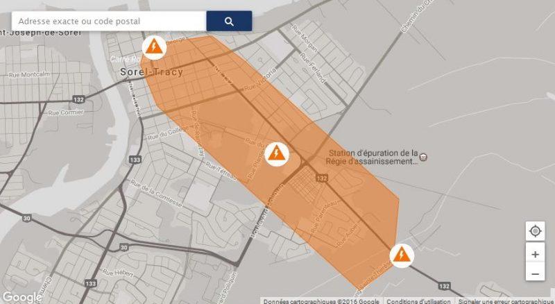 Près de 2 000 personnes ont été privées d'électricité à Sorel-Tracy ce matin.   Photo: Tirée du site Internet d'Hydro-Québec