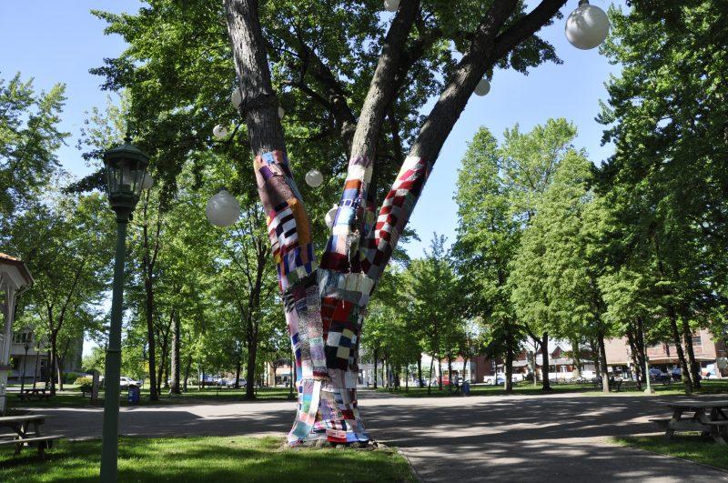 Un arbre est recouvert de tricot au carré Royal. | Ville de Sorel-Tracy