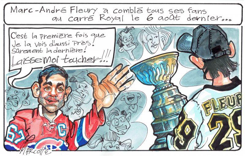 Marc-André Fleury a célébré la Coupe Stanley en grand avec les Sorelois, mais un intrus s'est invité au «party»! | Gilles Bill Marcotte