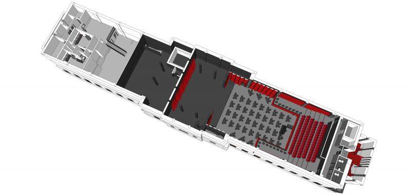Au 3e niveau, on peut apercevoir qu'un balcon s'ajoute pour des spectateurs.   Photo: gracieuseté - Éric Champagne architecte