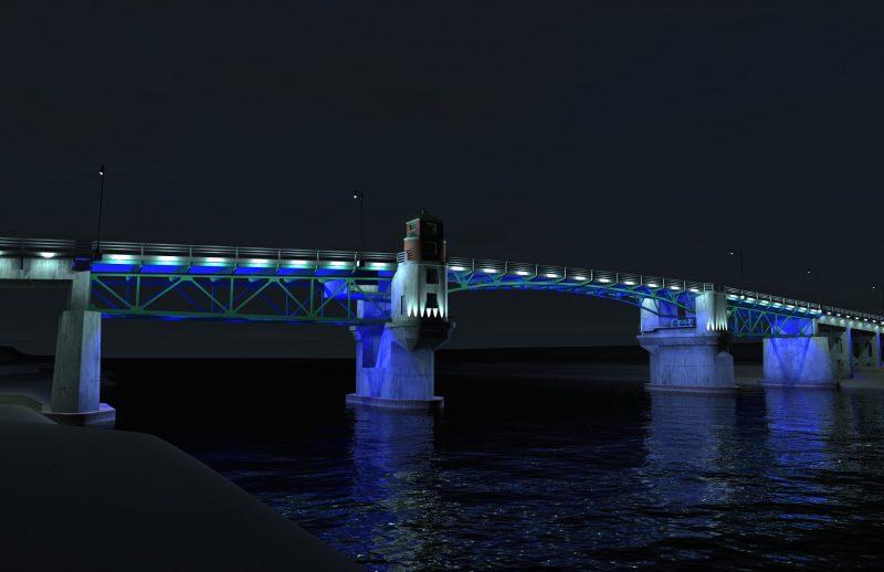 La Ville de Sorel-Tracy avait développé des maquettes du pont Turcotte illuminé. | Gracieuseté/Ville de Sorel-Tracy
