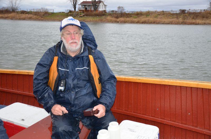 Le professeur Gilbert Cabana a récupéré des échantillons d'eau dans les îles de Sorel, le 13 novembre. | TC Média - Sarah-Eve Charland