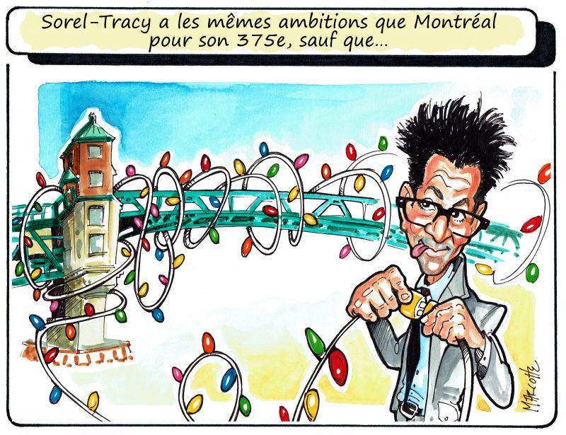 Le pont Turcotte illuminé lors des Fêtes du 375e de Sorel-Tracy! Une inspiration de Montréal et de son pont Jacques-Cartier? | Gilles Bill Marcotte