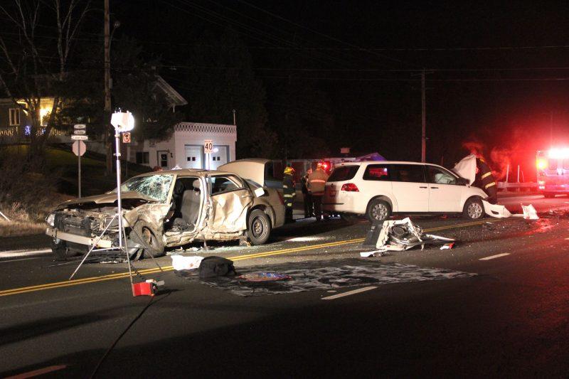 La voiture a été percutée du côté du conducteur par la mini-fourgonnette. | Photo TC Media – Alexandre Parent-Léveillé