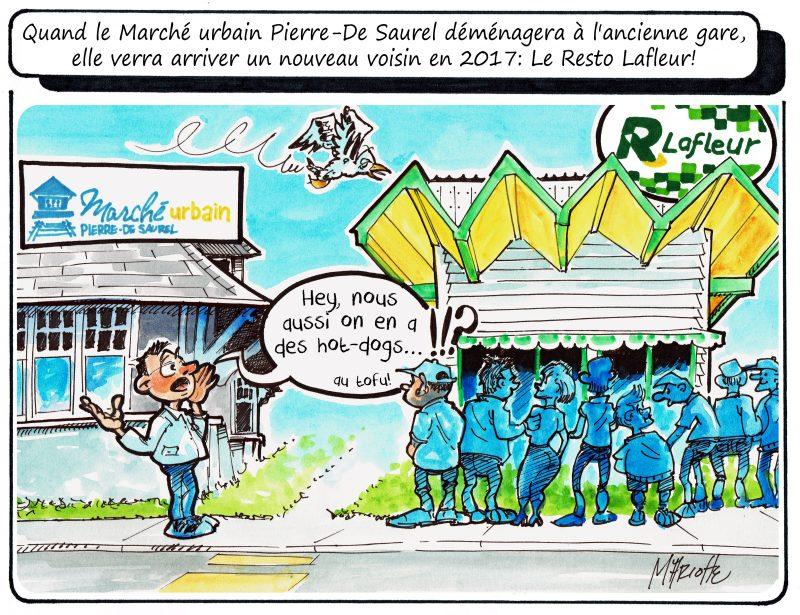 Des odeurs de friture près du nouvel emplacement du Marché urbain Pierre-De Saurel? C'est du moins l'idée du caricaturiste Gilles Bill Marcotte! | Gilles Bill Marcotte