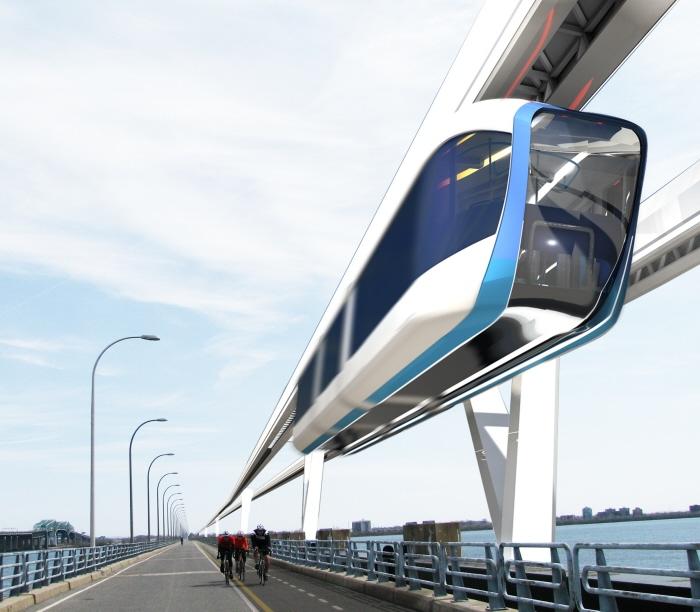 :L'étude de préfaisabilité d'un monorail à grande vitesse est l'amorce du projet sorelois de MGV Québec.   Photo:  Crédit graphique : Frédéric Laurin-Lalonde