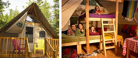 Des tentes oTENTik seront construites au Lieu historique du Canal-de-Saint-Ours. | tirée du site internet de Parcs Canada