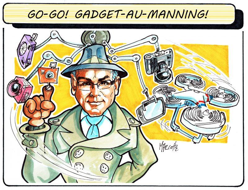 Le photographe Philippe Manning aime les drones et tous les gadgets! Et ça paraît sur cette caricature... | Gilles Bill Marcotte