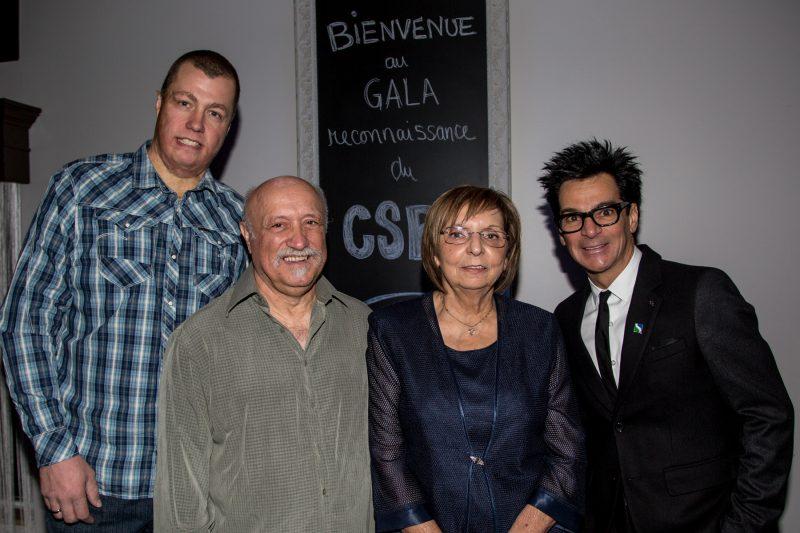 Sylvain Nadeau (président du CSBR), Réjean Ducharme (intronisé en 2011), Francine Parenteau (intronisée en 2011) et Serge Péloquin (maire de Sorel-Tracy). | Photo: TC Média – Pascal Cournoyer