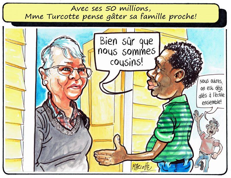 La caricature de Gilles Bill Marcotte sur la gagnante du gros lot de 50 M$. | Gilles Bill Marcotte