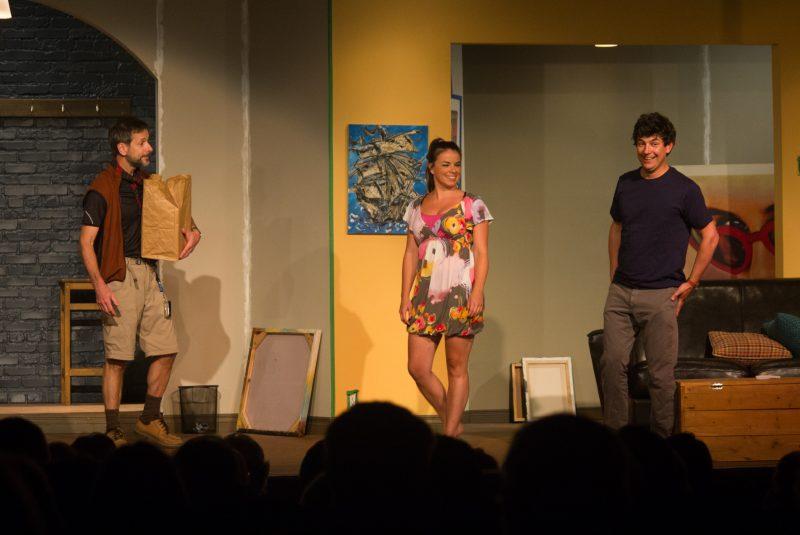 La pièce Bébé à bord sera présentée tout l'été au Théâtre du Chenal-du-Moine. Sur la photo, Marc-André Coallier, Mirianne Brulé et Maxime Tremblay. | TC Média - Archives