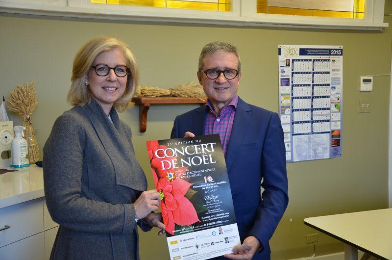 La chef d'orchestre, Josée Laforest, et le président d'honneur, André Lussier, invitent la population à soutenir le CAB en se procurant des billets pour le concert-bénéfice de Noël.   TC Média - Sarah-Eve Charland