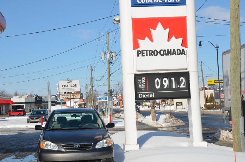 Le prix de l'essence se situait à 91,2¢ le 18 février à Sorel-Tracy.   TC Média - Sarah-Eve Charland