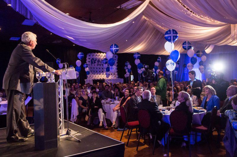 Quelque 600 partisans ont applaudi aux propos.que leur a adressés  le chef du Bloc québécois, Gilles Duceppe., à l'occasion d'un brunch servi à la salle Jani-Ber. | Photo TC Média - Pascal Cournoyer