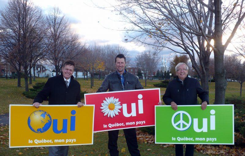 Les affiches du référendum de 1995 que proposent de remettre à l'honneur les indépendantistes Sylvain Rochon, Martin Lajeunesse et Louis Plamondon. | Photo: Gracieuseté