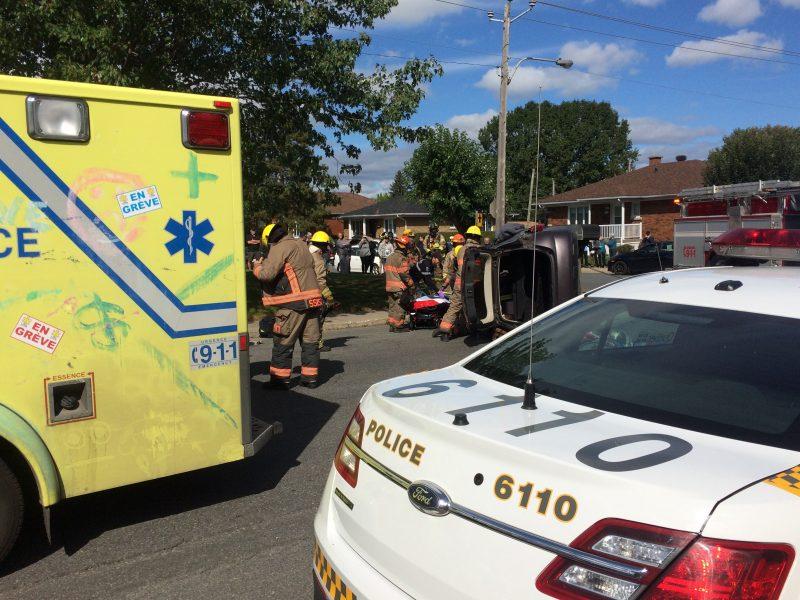 Un véhicule s'est renversé après l'impact d'un accident. | Photo: TC Media - Jean-Philippe Morin