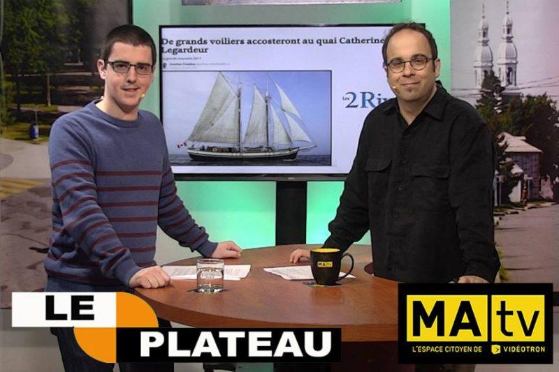 L'émission Le Plateau reçoit plusieurs intervenants, comme le chef de contenu du journal Les 2 Rives, Jean-Philippe Morin.   Tirée de Facebook
