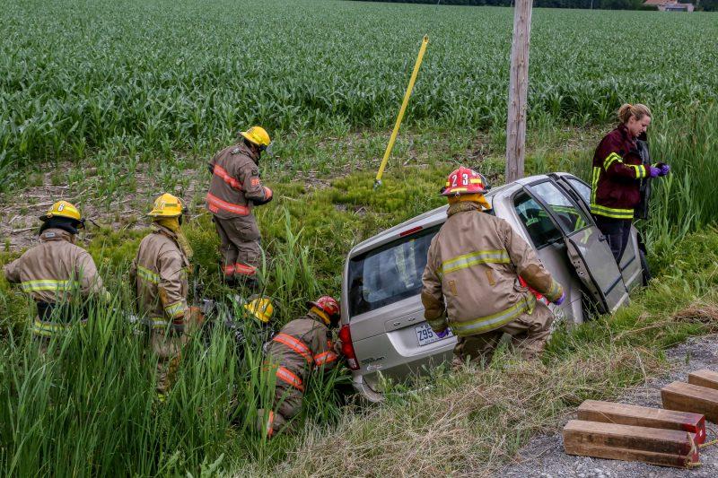 Les pompiers ont dû intervenir lors d'un accident de la route, en juillet dernier, à Saint-Robert. | Photo: TC Média - Pascal Cournoyer