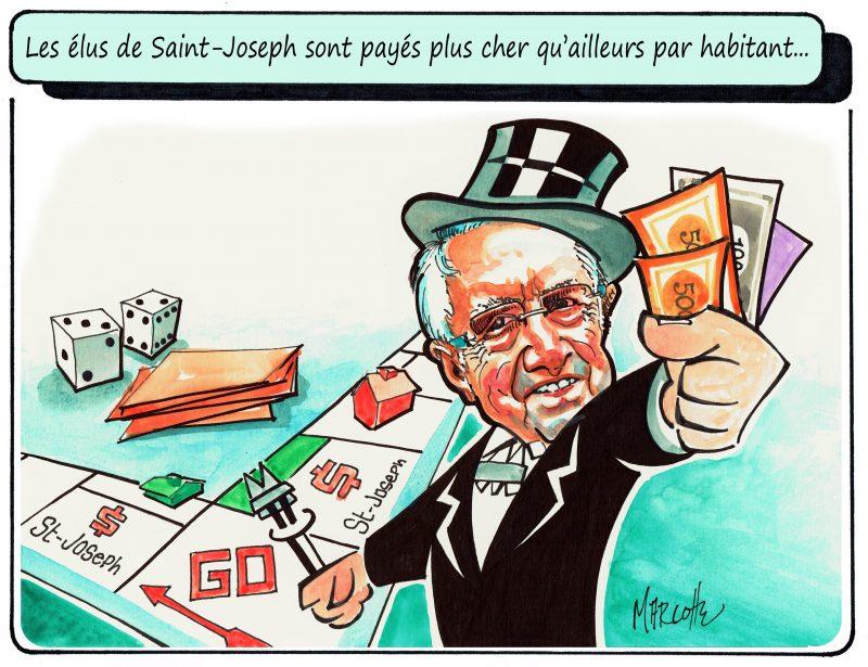 Caricature du 16 février 2016, en lien avec le salaire des élus. | Gilles Bill Marcotte