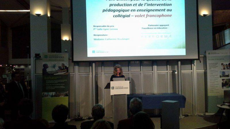 Catherine Boulanger, lors de la réception de son prix, le 11 avril.   Gracieuseté