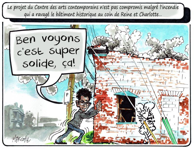 La caricature de Gilles Bill Marcotte cette semaine: Que faire de ce bâtiment patrimonial? | Gilles Bill Marcotte
