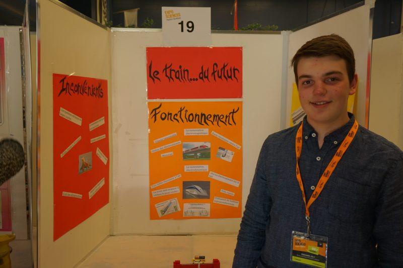 Édouard Joly a présenté son projet « Les trains à lévitation magnét ». | Gracieuseté/Expo-sciences