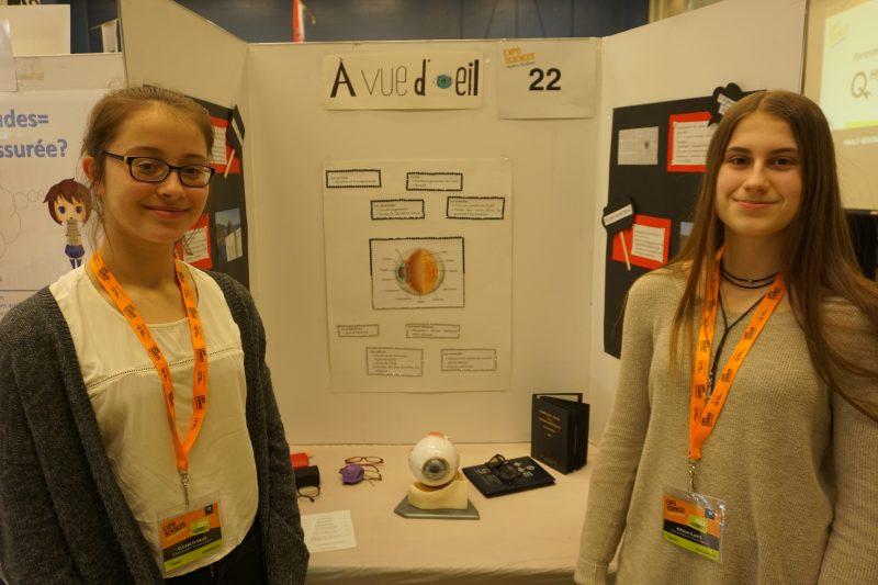 Élizabeth Massé et Rosalie Plante ont présenté leur projet « À vue d'oeil ». | Gracieuseté/Expo-sciences