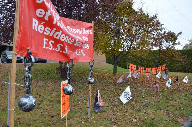Le Syndicat des travailleurs de la Résidence Sorel-Tracy est aussi en grève aujourd'hui. | TC Média - Sarah-Eve Charland