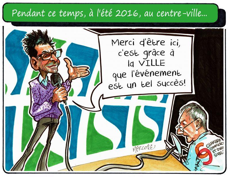 Le maire Serge Péloquin et la Chambre de commerce, vus par Gilles Bill Marcotte. | Gilles Bill Marcotte