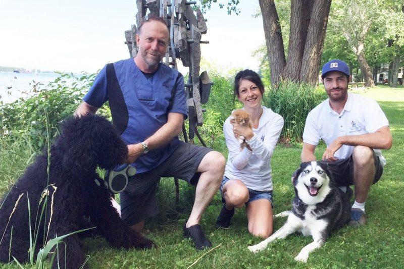 Le vétérinaire Sylvain Quessy, sa belle-fille Josianne Choquette et son fils Francis travaillent à temps plein pour sauver les animaux errants ou abandonnés. | Photo: Gracieuseté