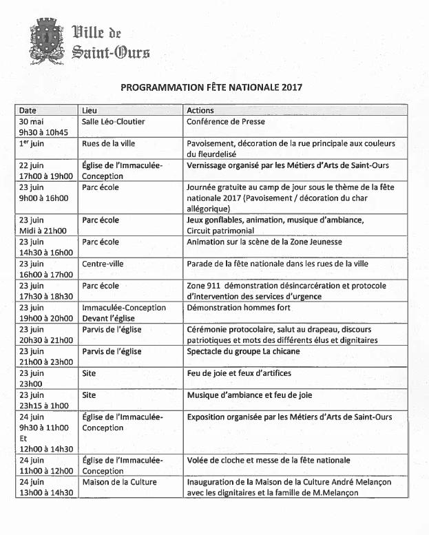 La programmation de la Fête nationale à Saint-Ours. | Tirée du communiqué de presse