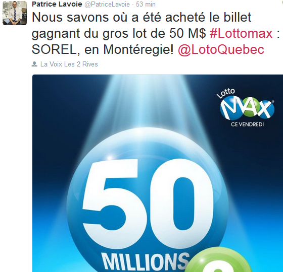 Le tirage de LottoMax de vendrdi était de 50 M$. | Photo: Twitter