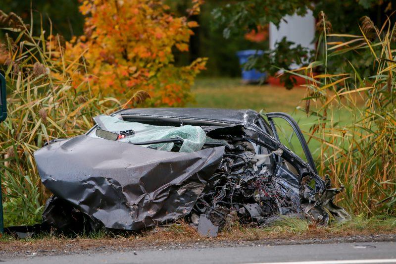Un grave accident est survenu sur la route 132 à Yamaska, le 10 octobre, vers 17h. (Photo: Pascal Cournoyer)
