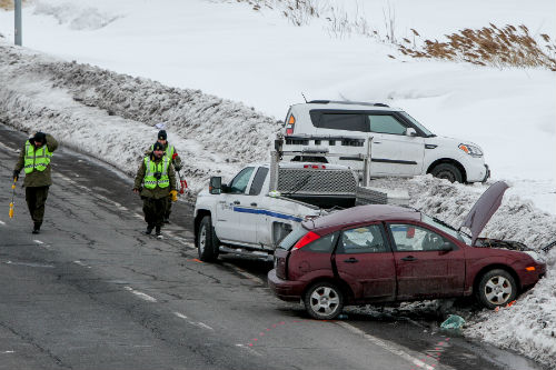 L'accident survenu en milieu d'après-midi a fait un blessé grave.  Photo Pascal Cournoyer | Les 2 Rives ©