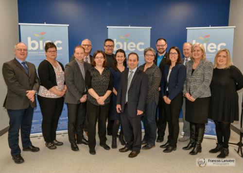 Les partenaires de l'entente étaient présents au lancement des BIEC, le 8 avril 2019, à Saint-Hyacinthe.  Photo gracieuseté