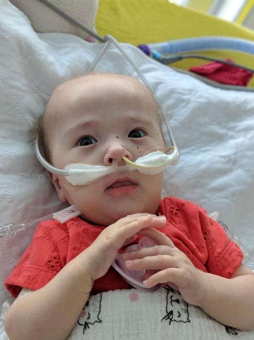 La petite Zoé Lachapelle a passé ses sept mois au CHU Sainte-Justine.  Photo gracieuseté