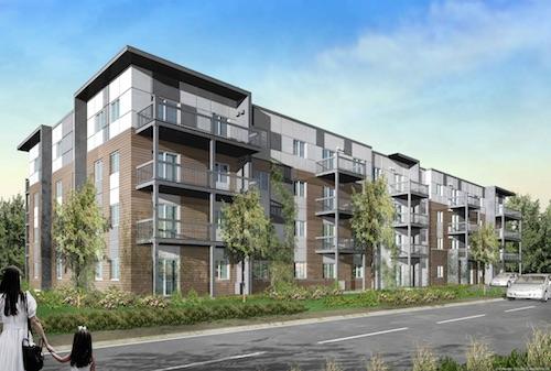 La phase un du projet Le Bosco serait un bloc de 40 appartements sur quatre étages avec un stationnement souterrain.  Photo gracieuseté