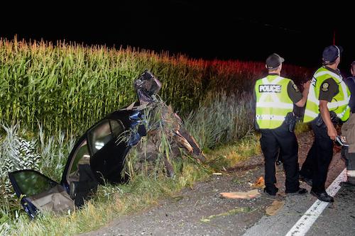 L'accident est survenu vers minuit et demi le 11 août à Saint-Robert.  Photo Pascal Cournoyer | Les 2 Rives ©