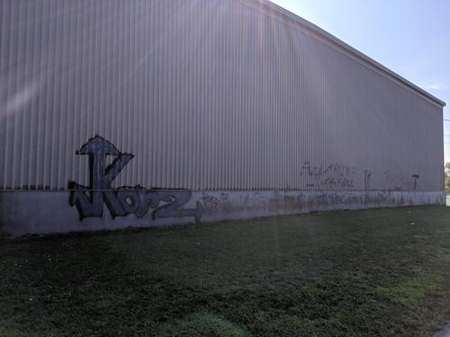 La murale se réalisera sur un des murs de l'aréna à Contrecœur.  Photo gracieuseté