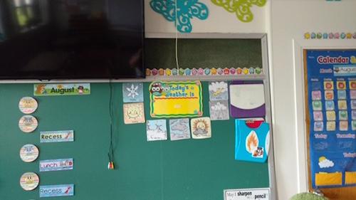 Melony Gauthier aime afficher sur les murs de sa classe pour aider les élèves avec la compréhension.  Photo gracieuseté