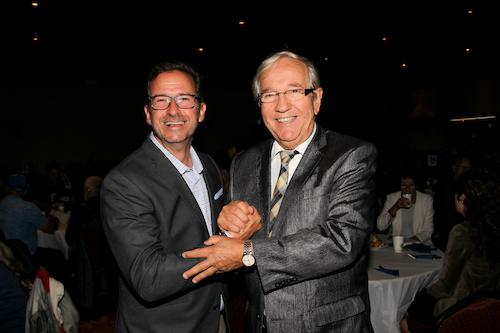 Le chef du Bloc Québécois, Yves-François Blanchet, avec le député sortant et candidat pour le Bloc Québécois, Louis Plamondon.  Photo Pascal Cournoyer | Les 2 Rives ©